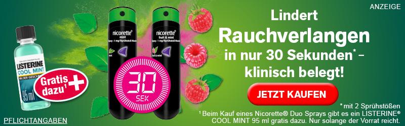 nicorette® Spray lindert Rauchverlangen in nur 30 Sekunden mit zwei Sprühstößen, klinisch belegt!