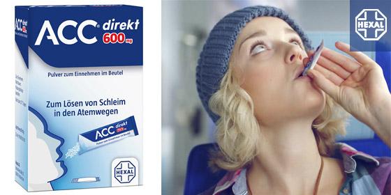 ACC® direkt Hustenlöser löst den Schleim, erleichtert das Abhusten und stärkt den Bronchienschutz.