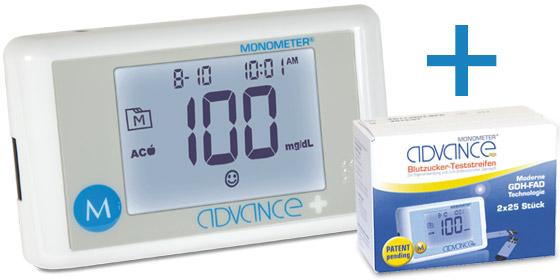 Ihre Versandapotheke präsentiert: Das Monometer-Advance-Plus-Set mit 10 + 50 Teststreifen!