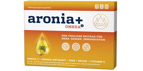 aronia+ OMEGA³ - Kombination aus Omega-3-Fettsäuren und einem Extrakt der Aroniabeere, sowie Zink, Selen und den Vitaminen C und E.