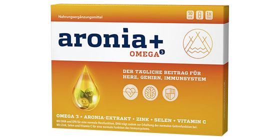 Aronia+ Omega 3: Mit der Kombination aus Omega-3-Fettsäuren und dem Extrakt der Aroniabeere.