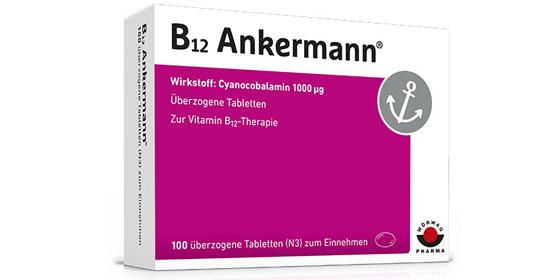 B12 Ankermann: Das einzige Arzneimittel mit dem Wirkstoff Vitamin B12 in der Hochdosis von 1000 Mikrogramm pro Dragee.