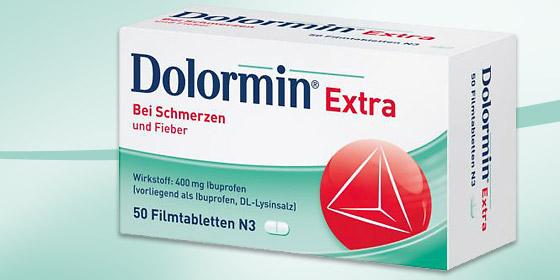 Dolormin. Bei leichten bis mäßig starken Schmerzen, z.B. Kopfschmerzen, Zahnschmerzen und Regelschmerzen oder auch bei Fieber.