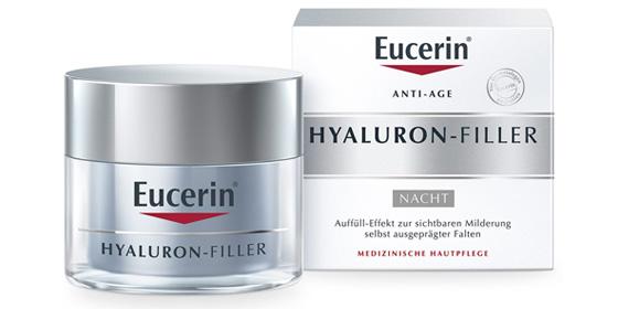 Eucerin Anti-Age Hyaluron-Filler Nacht füllt Falten effektiv von innen heraus auf.
