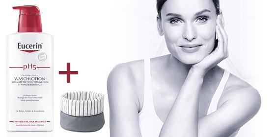 Nur solange Vorrat reicht & nur im Shop: Eucerin pH5 Waschlotion empfindliche Haut m.Pumpe 400 ml + gratis Badkorb.