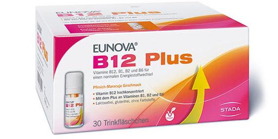 Eunova B12 Plus: Hochdosiertes Vitamin B12 (500 μg)</b> in einer sinnvollen Kombination mit den B-Vitaminen B1, B2 und B6.