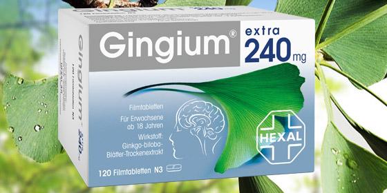 Eine Tablette Gingium® extra 240 mg pro Tag genügt, um die empfohlene Tages-Höchstdosis 240 mg zu erreichen.