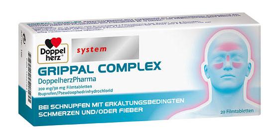 Grippal complex bei Schnupfen mit erkältungsbedingten Schmerzen und/oder Fieber.