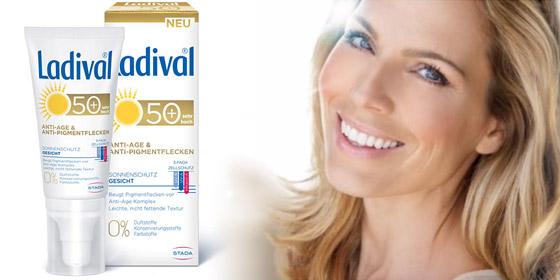 Ladival Anti-Age & Anti-Pigmentflecken Sonnencreme beugt mit innovativen Antioxidantien Pigmentflecken vor.