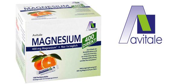 Magnesium von Avitale: Direktgranulat zur Einnahme ohne Wasser  mit angenehmem Orangengeschmack.