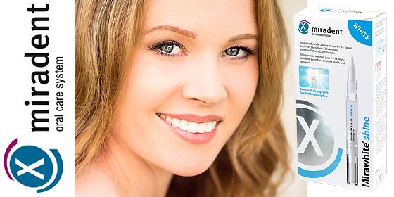 Strahlend weiße Zähne in nur 14 Tagen: MIRADENT Mirawhite shine Gel.