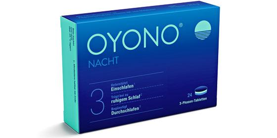 OYONO - Die 3-Phasen-Tablette aus Pflanzenextrakten und Melatonin bei Schlafproblemen.