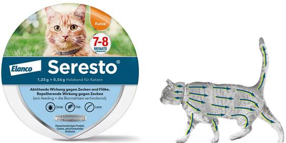 Das Seresto® Floh- und Zeckenhalsband für Katzen schützt Ihr Haustier für bis zu acht Monate.