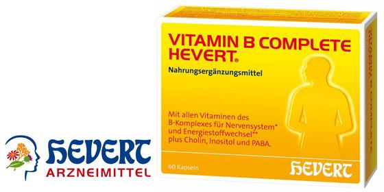 Vitamin B Complete Hevert enthält alle Vitamine des B-Komplexes von B1 bis B12 in einer veganen Darreichungsform.