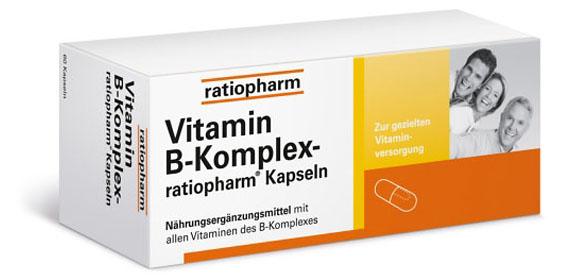 Nahrungsergänzungsmittel mit allen Vitaminen des B-Komplexes. Von ratiopharm.