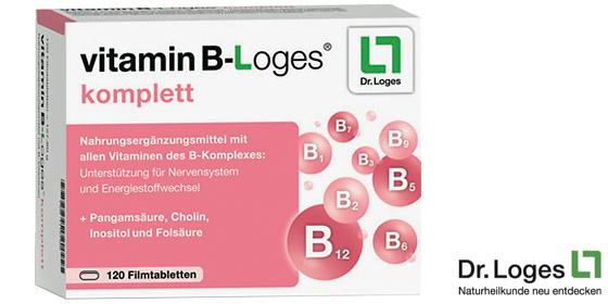 Vitamin B-loges® komplett enthält alle B-Vitamine sowie Cholin, Inositol und Pangamsäure.